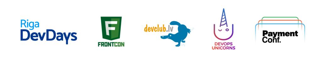 Logos of all DevClub.lv events